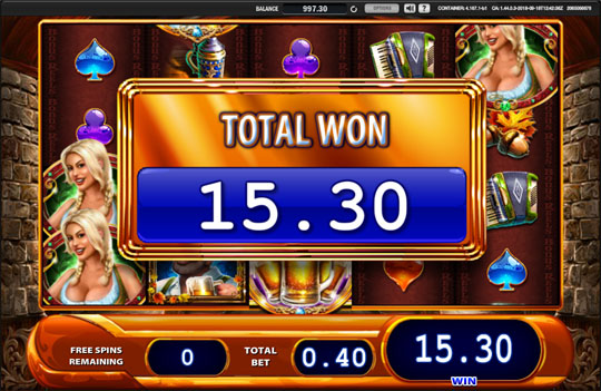 Bier Haus Free Spins Feature Total Win