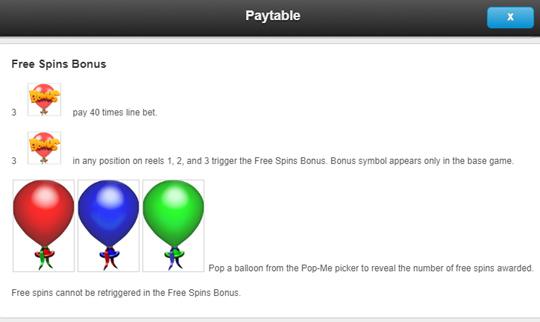 Balloonies free spins