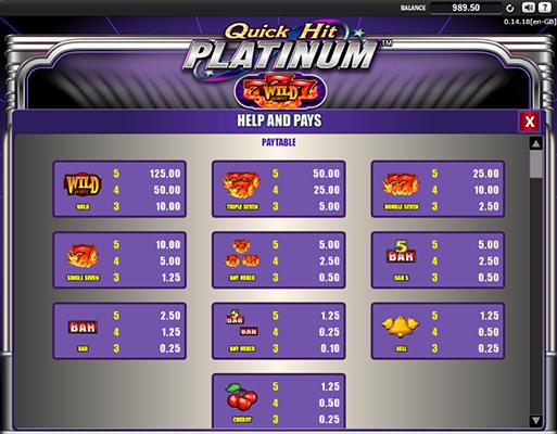 Quick Hit Platinum Table